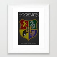 hogwarts Framed Art Prints featuring Hogwarts by Fanboy's Canvas