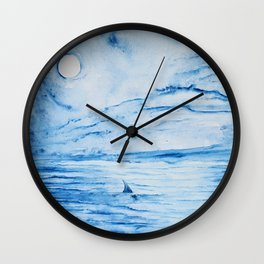 Full moon over shallow water Wall Clock