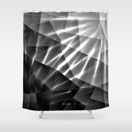 Exclusive glowing mosaic pattern of chaotic black and white fragments of glass, metal and ice floes. Shower Curtain
