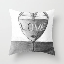 Glass of love Throw Pillow