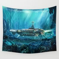 submarine Wall Tapestries featuring Steampunk Submarine by FantasyArtDesigns
