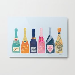 Champagne Bottles - Blue Ver. Metal Print