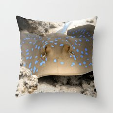 Blue Spotted Ray Throw Pillow