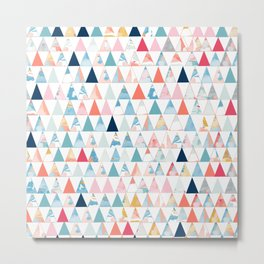 Colorful geometric triangle pattern Metal Print