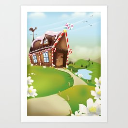 gingerbread house Art Print