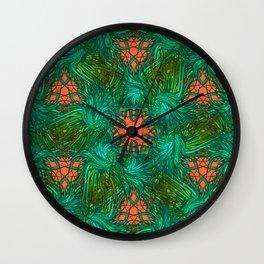 greenery and orange pattern Wall Clock