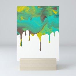 Mint Green Abstract Paint dripping Mini Art Print