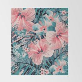 Vintage Jade Coral Aloha Throw Blanket