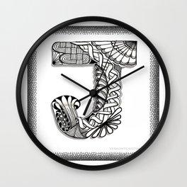 Zentangle J Monogram Alphabet Initials Wall Clock