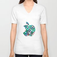 apple V-neck T-shirts featuring APPLE by Monika Strigel