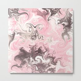 Modern pastel colors abstract watercolor marble Metal Print