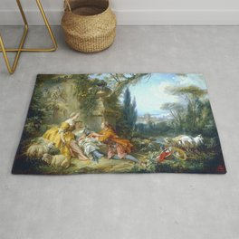 """François Boucher """"Charms of Country Life (Les charmes de la vie champêtre)"""" Rug"""
