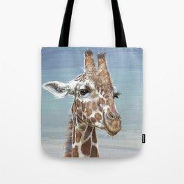 Giraffe Against A Blue Sky Tote Bag