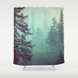Forest Fog Fir Trees Shower Curtain