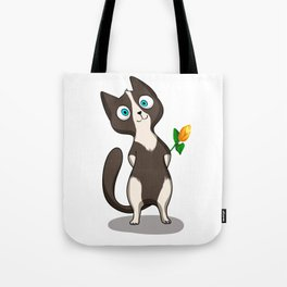 Tuxedo cat with flower Tote Bag