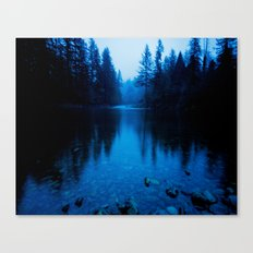 Forest Reflection Nature Lake - Blue Forest Trees Water Reflection Canvas Print
