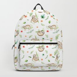 Modern green pink brown watercolor sloth floral pattern Backpack