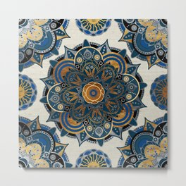 Mandala Blue and Gold Metal Print