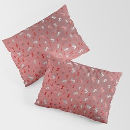 pink,silver,dollar, symbol in shiny metall textur Pillow Sham