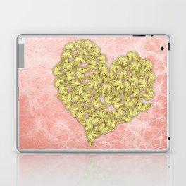 Gold butterflies heart and peach texture Laptop & iPad Skin