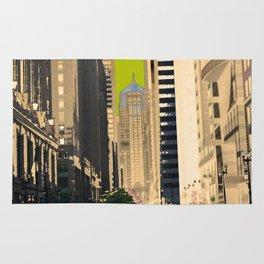 Downtown Chicago photography digitally reimagined - modern Chicago skyline in pop art Rug
