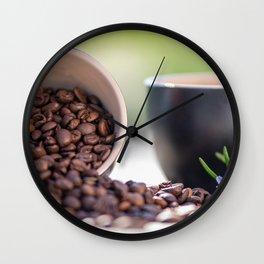 #Fresh #arabica #coffee #beans in #black #coffee #cups Wall Clock