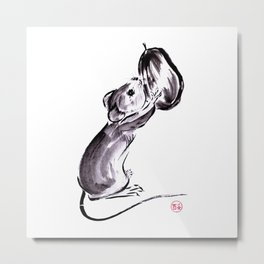 A mouse with a nut sumie ink painting Metal Print