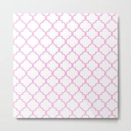 Moroccan Trellis (Pink & White Pattern) Metal Print