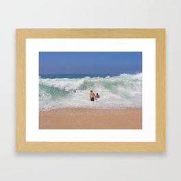Sunset Beach Shorebreak Framed Art Print