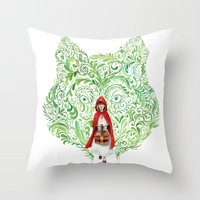 red riding hood Throw Pillows featuring Red Riding Hood by Stephane Lauzon