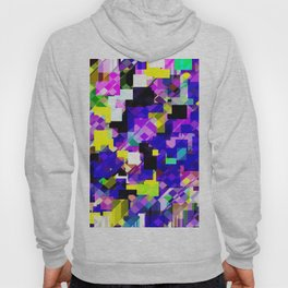 geometric square pixel pattern abstract in blue yellow pink Hoody