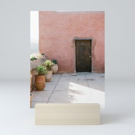 Magical Morocco - Ourika | Coral colored house and wooden door in the atlas mountains Mini Art Print