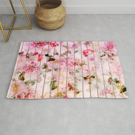 Blush pink coral watercolor floral faux rose gold stripes Rug