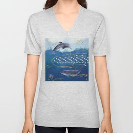 Dolphins Hunting Fish - Surreal Seascape Unisex V-Neck