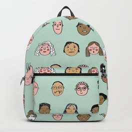 Faces people illustration hand drawn different people all shapes and sizes pattern Backpack