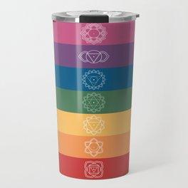 Seven Chakra Mandalas on a Striped Rainbow Color Background Travel Mug