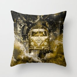 galaxy vintage voyager world map design 3 Throw Pillow