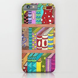 Colorful books on shelves iPhone Case