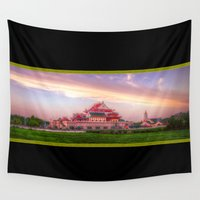 thailand Wall Tapestries featuring Chinese Temple Sunset Thailand by Urbex :: Siam