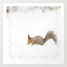 Little squirrel sitting in the snow Art Print