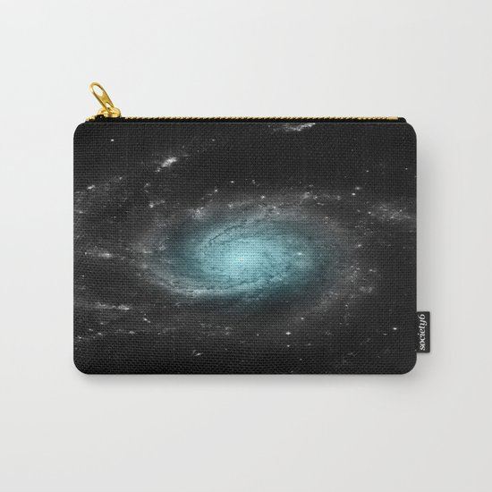 Aqua Blue Gray Pinwheel Galaxy Carry-All Pouch