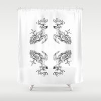 clockwork Shower Curtains featuring clockwork deer by vasodelirium