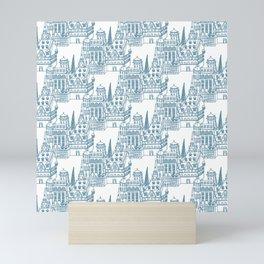 Buildings in Blue Mini Art Print