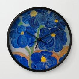 Blue Fleurs Wall Clock
