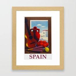 Vintage Spain Travel Poster - Guitar Framed Art Print