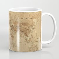 vintage map Mugs featuring VINTAGE MAP by Oksana Smith