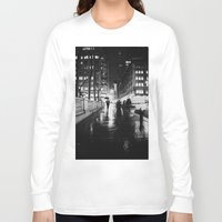 new york city Long Sleeve T-shirts featuring New York City Noir by Vivienne Gucwa