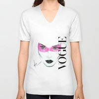 vogue V-neck T-shirts featuring Vogue by Maca