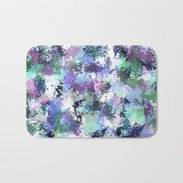 Abstract Blue Paint Splatter Bath Mat