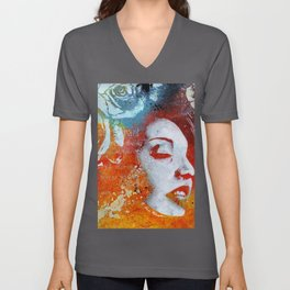 To Our Friends in the Great White North | graffiti woman with roses Unisex V-Neck